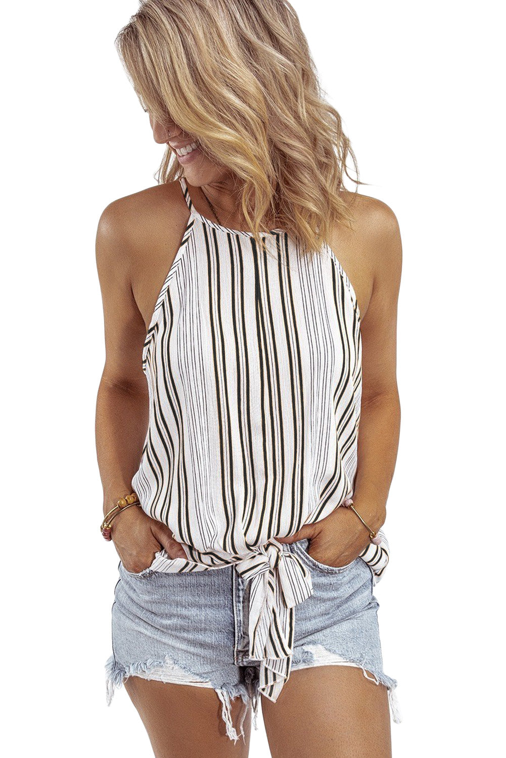 Black Stripe Sleeveless Cami Top