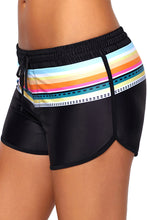 Load image into Gallery viewer, Striped Print Accent Black Drawstring Board Shorts