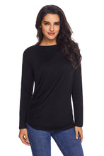 Load image into Gallery viewer, Black Long Sleeve Draped Round Neck T Shirt