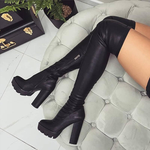 2020 Autumn Winter New Pu Leather Women Over The Knee Boots Sexy 12Cm High Heels Autumn Woman Shoes Winter Women Boots Size 36-41