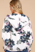 Load image into Gallery viewer, White Floral Print Rain Jacket