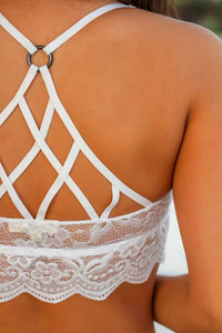 White Scalloped Grid Hollow-out Bralette