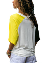 Load image into Gallery viewer, Yellow Black Raglan Sleeves Open Shoulder Shirt