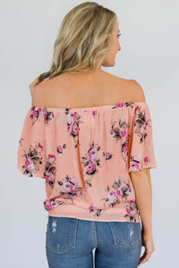 Pink Floral Off The Shoulder Top