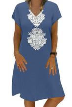 Load image into Gallery viewer, Sky Blue Summer Tribal Print V-Neck Shift Casual Dress