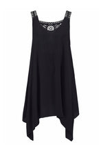 Load image into Gallery viewer, Black Handkerchief Hem Crochet Back Sundress