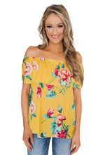 Load image into Gallery viewer, Yellow Grow with Me Off The Shoulder Floral Top