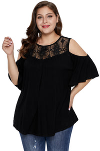 Black Plus Size Crochet Yoke Cold Shoulder Top