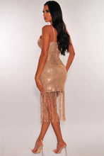 Load image into Gallery viewer, Rose Gold Sequins Ruched Slit Fringe Dress