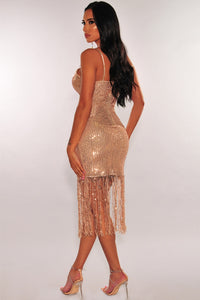 Rose Gold Sequins Ruched Slit Fringe Dress