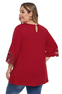 Red Plus Size Cutout Blouse Top