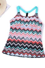 Load image into Gallery viewer, Coral Blue Zigzag Print Y Back Tankini Top