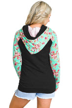 Load image into Gallery viewer, Mint Floral Splice Black Drawstring Hoodie