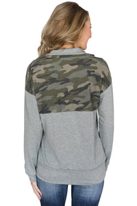 Camo Splice Gray Kangaroo Pocket Zip Collar Sweatshirt