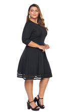 Load image into Gallery viewer, Black 3/4 Length Sleeve Gauze Patchwork Flare Plus Size Dress