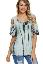 Load image into Gallery viewer, Mint Tie Dye Print Crisscross Cold Shoulder Top