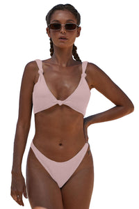 Pink Knotted Two-piece Bikini Swimsuit