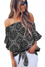 Load image into Gallery viewer, Black Bohemian Floral Print Off The Shoulder Blouse
