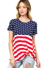 Load image into Gallery viewer, The Stars and Stripes Front Knot T-shirt