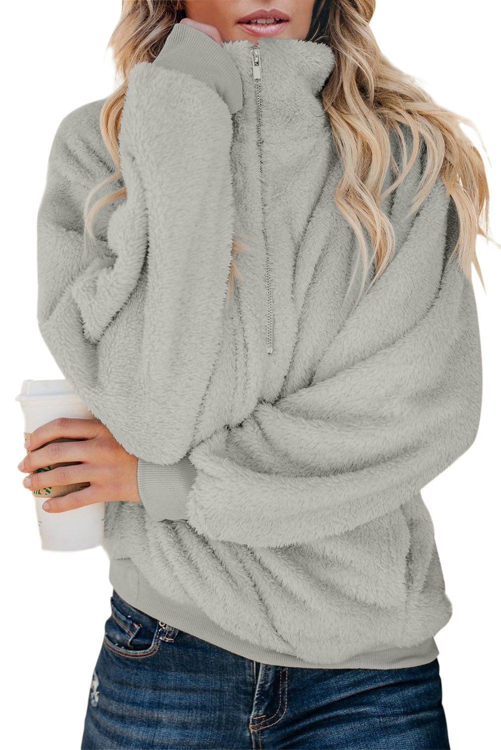 Gray Traverse Pocketed Sherpa Pullover Sweatshirt