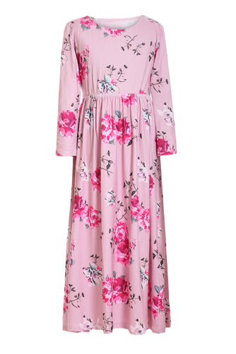 Pink Floral Maxi Dress for Kids