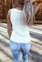 Load image into Gallery viewer, White Twist Front Hem Knit Tank