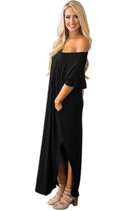 Black Beachy Keen Ruffle Sleeve T-shirt Maxi Dress