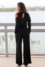 Load image into Gallery viewer, Black Ruffle Cold Shoulder Long Sleeve Jumpsuit