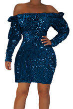 Load image into Gallery viewer, Blue Sequin Off Shoulder Club Dress