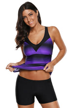 Load image into Gallery viewer, Purple Black Ombre Print Strappy Tankini and Short Set