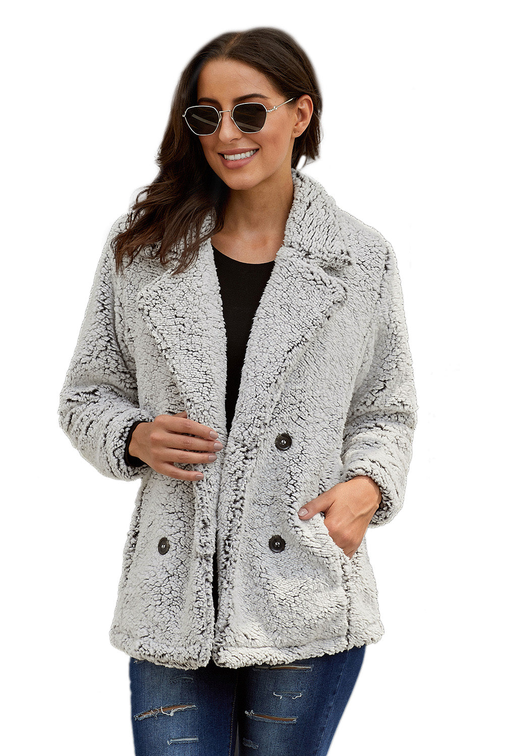 Gray Double-breasted Lapel Plush Jacket