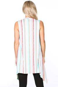 Striped Print Sleeveless Long Vest