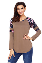 Load image into Gallery viewer, Brown Floral Varsity Stripe Long Sleeve Top
