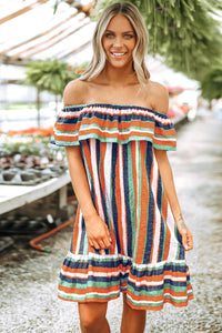 Multicolor Stripes Ruffles Off The Shoulder Dress