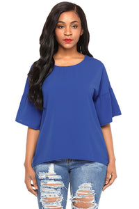 Royal Blue Short Bell Sleeves Sheer Chiffon Blouse