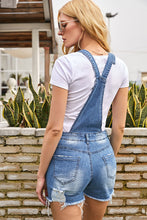 Load image into Gallery viewer, Raw Hem Ribbed Light Blue Denim Overall Shorts
