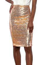 Load image into Gallery viewer, Champagne Glitter Me Crushed Sequin Pencil Skirt