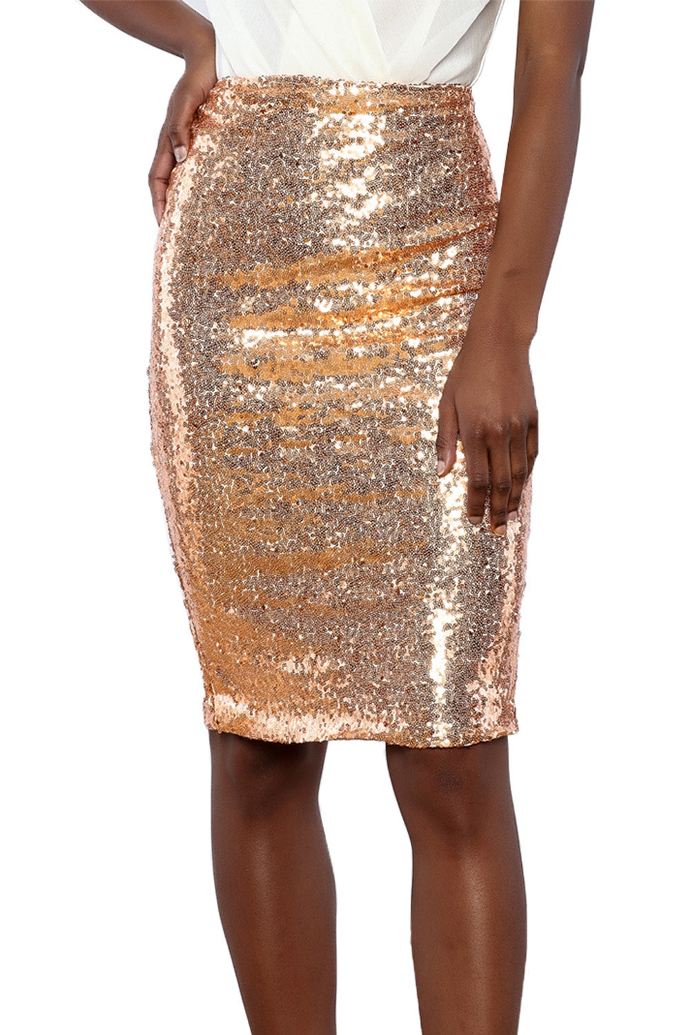 Champagne Glitter Me Crushed Sequin Pencil Skirt