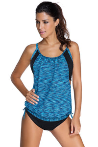 Sky Blue Layered-Style Printed Tankini with Swim Trunks