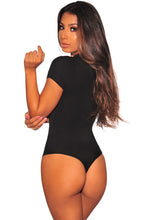 Load image into Gallery viewer, Black Silver O-Ring Zipper Bodysuit