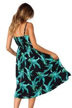 Load image into Gallery viewer, Green Leaf Print Black Button Down Sundress
