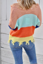 Load image into Gallery viewer, Apricot Colorblock Distressed Sweater