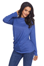 Load image into Gallery viewer, Blue Long Sleeve Draped Round Neck T Shirt