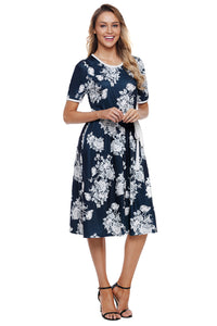 Blue Full-blown Floral Print Knee Length Dress