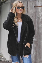 Load image into Gallery viewer, Black Breaker Pocketed Sherpa Statement Jacket
