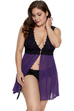 Load image into Gallery viewer, Purple Lace Covered Tulle Plus Size Babydoll