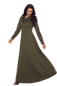 Olive Cow Neck Long Sleeve Maxi Dress