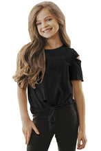Load image into Gallery viewer, Black Cut Out Shoulder Tie Front Tee