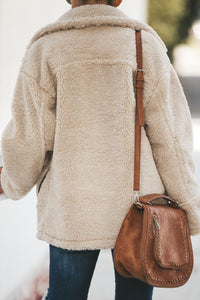 Beige Breaker Pocketed Sherpa Statement Jacket