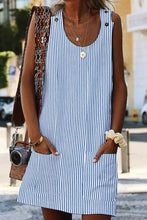 Load image into Gallery viewer, Sky Blue Boho Crew Neck Pockets Daily Striped Shift Dress
